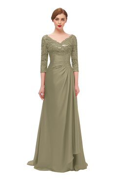 ColsBM Tatum Cornstalk Bridesmaid Dresses Luxury Zipper Three-fourths Length Sleeve Brush Train Lace V-neck