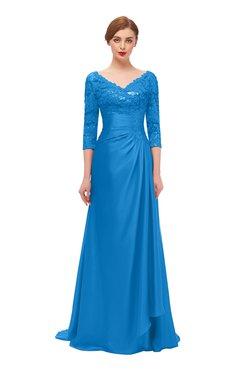 40b8c9b4a3e ColsBM Tatum French Blue Bridesmaid Dresses Luxury Zipper Three-fourths  Length Sleeve Brush Train Lace