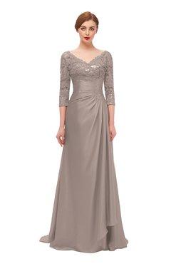 ColsBM Tatum Latte Bridesmaid Dresses Luxury Zipper Three-fourths Length Sleeve Brush Train Lace V-neck