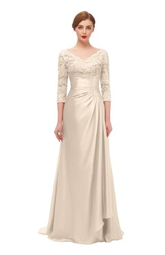 ColsBM Tatum Linen Bridesmaid Dresses Luxury Zipper Three-fourths Length Sleeve Brush Train Lace V-neck