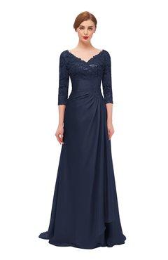 ColsBM Tatum Navy Blue Bridesmaid Dresses Luxury Zipper Three-fourths Length Sleeve Brush Train Lace V-neck