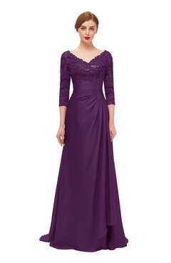 ColsBM Tatum Plum Bridesmaid Dresses Luxury Zipper Three-fourths Length Sleeve Brush Train Lace V-neck
