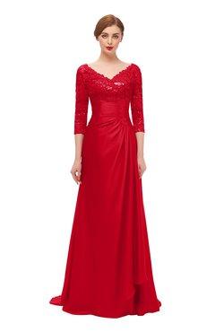 ColsBM Tatum Red Bridesmaid Dresses Luxury Zipper Three-fourths Length Sleeve Brush Train Lace V-neck