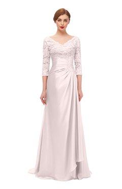 ColsBM Tatum Rosewater Pink Bridesmaid Dresses Luxury Zipper Three-fourths Length Sleeve Brush Train Lace V-neck