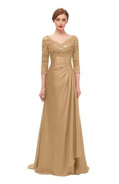 ColsBM Tatum Sand Bridesmaid Dresses Luxury Zipper Three-fourths Length Sleeve Brush Train Lace V-neck