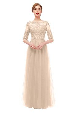 ColsBM Billie Beige Bridesmaid Dresses Scalloped Edge Ruching Zip up Half Length Sleeve Mature A-line