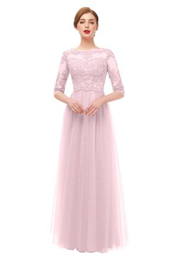 ColsBM Billie Blush Bridesmaid Dresses Scalloped Edge Ruching Zip up Half Length Sleeve Mature A-line