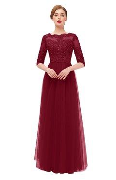 ColsBM Billie Burgundy Bridesmaid Dresses Scalloped Edge Ruching Zip up Half Length Sleeve Mature A-line