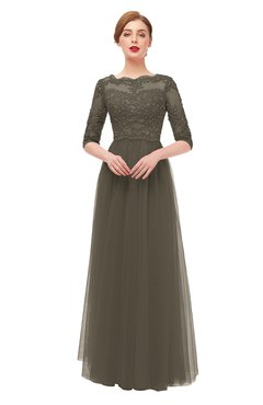 ColsBM Billie Chocolate Chip Bridesmaid Dresses Scalloped Edge Ruching Zip up Half Length Sleeve Mature A-line