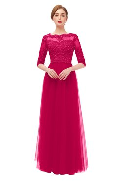 ColsBM Billie Fuschia Bridesmaid Dresses Scalloped Edge Ruching Zip up Half Length Sleeve Mature A-line
