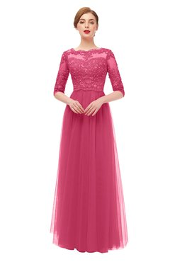 ColsBM Billie Honeysuckle Pink Bridesmaid Dresses Scalloped Edge Ruching Zip up Half Length Sleeve Mature A-line
