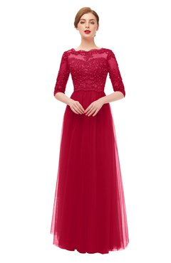 ColsBM Billie Maroon Bridesmaid Dresses Scalloped Edge Ruching Zip up Half Length Sleeve Mature A-line