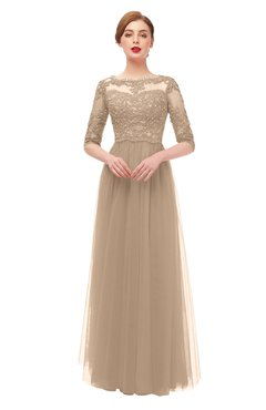 ColsBM Billie Rugby Tan Bridesmaid Dresses Scalloped Edge Ruching Zip up Half Length Sleeve Mature A-line