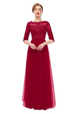 ColsBM Billie Salsa Bridesmaid Dresses Scalloped Edge Ruching Zip up Half Length Sleeve Mature A-line