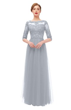 ColsBM Billie Silver Bridesmaid Dresses Scalloped Edge Ruching Zip up Half Length Sleeve Mature A-line