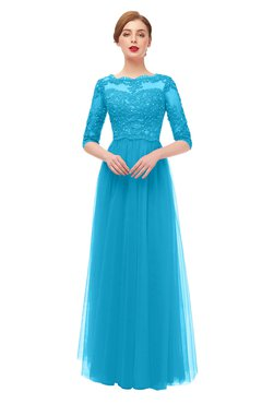 ColsBM Billie Turquoise Bridesmaid Dresses Scalloped Edge Ruching Zip up Half Length Sleeve Mature A-line