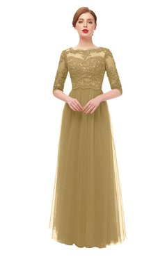 ColsBM Billie Venetian Gold Bridesmaid Dresses Scalloped Edge Ruching Zip up Half Length Sleeve Mature A-line