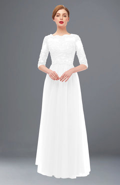 ColsBM Billie White Bridesmaid Dresses Scalloped Edge Ruching Zip up Half Length Sleeve Mature A-line