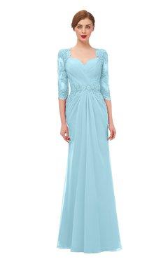 ColsBM Bronte Aqua Bridesmaid Dresses Elbow Length Sleeve Pleated Mermaid Zipper Floor Length Glamorous
