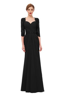 ColsBM Bronte Black Bridesmaid Dresses Elbow Length Sleeve Pleated Mermaid Zipper Floor Length Glamorous