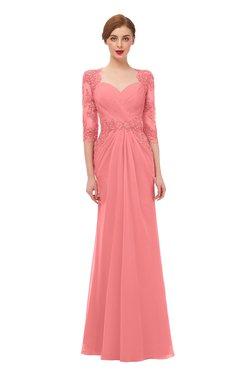 ColsBM Bronte Coral Bridesmaid Dresses Elbow Length Sleeve Pleated Mermaid Zipper Floor Length Glamorous