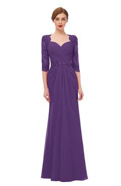 ColsBM Bronte Dark Purple Bridesmaid Dresses Elbow Length Sleeve Pleated Mermaid Zipper Floor Length Glamorous