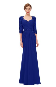 ColsBM Bronte Electric Blue Bridesmaid Dresses Elbow Length Sleeve Pleated Mermaid Zipper Floor Length Glamorous