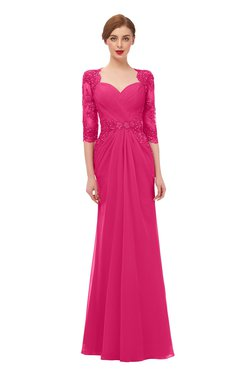 ColsBM Bronte Fuschia Bridesmaid Dresses Elbow Length Sleeve Pleated Mermaid Zipper Floor Length Glamorous