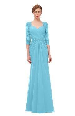 ColsBM Bronte Light Blue Bridesmaid Dresses Elbow Length Sleeve Pleated Mermaid Zipper Floor Length Glamorous