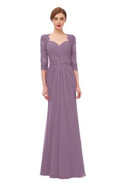 ColsBM Bronte Mauve Bridesmaid Dresses Elbow Length Sleeve Pleated Mermaid Zipper Floor Length Glamorous