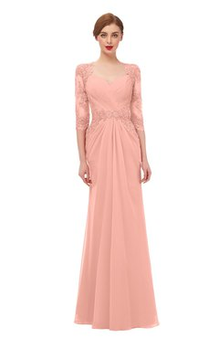 ColsBM Bronte Peach Bridesmaid Dresses Elbow Length Sleeve Pleated Mermaid Zipper Floor Length Glamorous