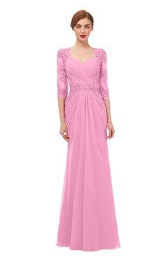 ColsBM Bronte Pink Bridesmaid Dresses Elbow Length Sleeve Pleated Mermaid Zipper Floor Length Glamorous