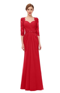 ColsBM Bronte Red Bridesmaid Dresses Elbow Length Sleeve Pleated Mermaid Zipper Floor Length Glamorous