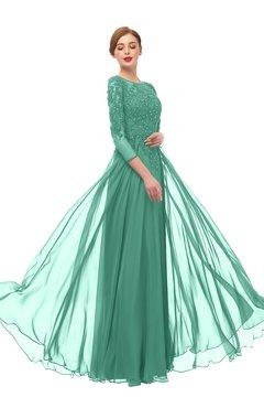 ColsBM Dixie Beryl Green Bridesmaid Dresses Lace Zip up Mature Floor Length Bateau Three-fourths Length Sleeve