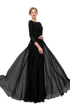 ColsBM Dixie Black Bridesmaid Dresses Lace Zip up Mature Floor Length Bateau Three-fourths Length Sleeve