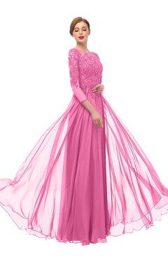 ColsBM Dixie Carnation Pink Bridesmaid Dresses Lace Zip up Mature Floor Length Bateau Three-fourths Length Sleeve