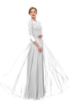 ColsBM Dixie Cloud White Bridesmaid Dresses Lace Zip up Mature Floor Length Bateau Three-fourths Length Sleeve