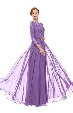 ColsBM Dixie Hyacinth Bridesmaid Dresses Lace Zip up Mature Floor Length Bateau Three-fourths Length Sleeve
