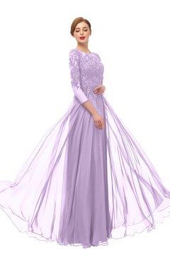 ColsBM Dixie Lavendula Bridesmaid Dresses Lace Zip up Mature Floor Length Bateau Three-fourths Length Sleeve