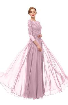 ColsBM Dixie Mist Pink Bridesmaid Dresses Lace Zip up Mature Floor Length Bateau Three-fourths Length Sleeve