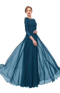 ColsBM Dixie Moroccan Blue Bridesmaid Dresses Lace Zip up Mature Floor Length Bateau Three-fourths Length Sleeve