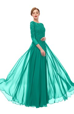 ColsBM Dixie Viridian Green Bridesmaid Dresses Lace Zip up Mature Floor Length Bateau Three-fourths Length Sleeve
