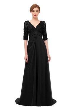 ColsBM Harper Black Bridesmaid Dresses Half Backless Elbow Length Sleeve Mature Sweep Train A-line V-neck
