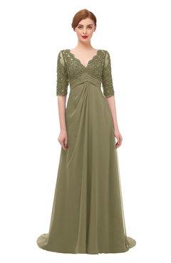 ColsBM Harper Boa Bridesmaid Dresses Half Backless Elbow Length Sleeve Mature Sweep Train A-line V-neck