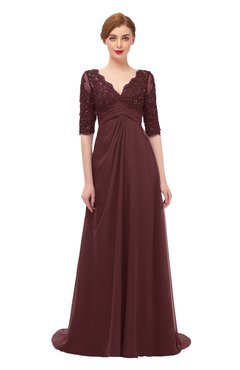 ColsBM Harper Burgundy Bridesmaid Dresses Half Backless Elbow Length Sleeve Mature Sweep Train A-line V-neck