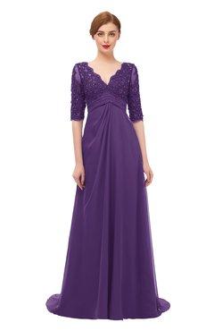 ColsBM Harper Dark Purple Bridesmaid Dresses Half Backless Elbow Length Sleeve Mature Sweep Train A-line V-neck