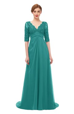 ColsBM Harper Emerald Green Bridesmaid Dresses Half Backless Elbow Length Sleeve Mature Sweep Train A-line V-neck