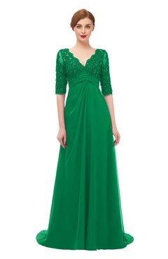 ColsBM Harper Green Bridesmaid Dresses Half Backless Elbow Length Sleeve Mature Sweep Train A-line V-neck