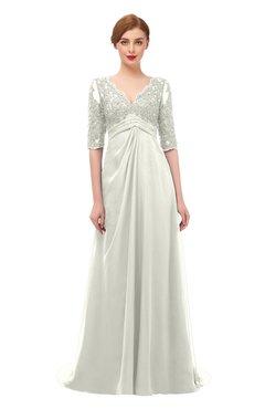 ColsBM Harper Ivory Bridesmaid Dresses Half Backless Elbow Length Sleeve Mature Sweep Train A-line V-neck