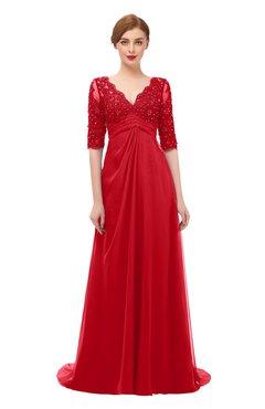 ColsBM Harper Red Bridesmaid Dresses Half Backless Elbow Length Sleeve Mature Sweep Train A-line V-neck